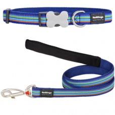Small - Blue Stripes Collar & Lead Set