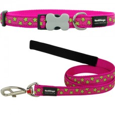 Extra Small - Pink Stars Collar & Lead Set