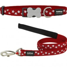 Extra Small - Red Stars Collar & Lead Set